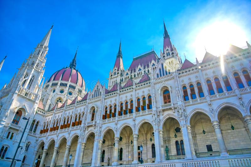 Hungarian Parliament Building in Budapest, Hungary. The exterior of the Hungarian Parliament Building in Budapest, Hungary royalty free stock photos