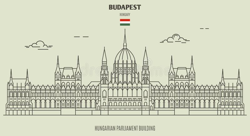 Hungarian Parliament Building in Budapest, Hungary. Landmark icon. In linear style royalty free illustration