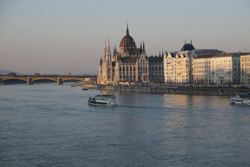Hungarian Parliament Building. In Budapest showing the River Danube stock photography