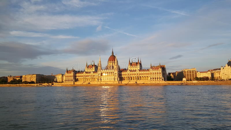The Hungarian Parliament Building. (Parliament of Budapest) during sunset in Slovakia royalty free stock photo