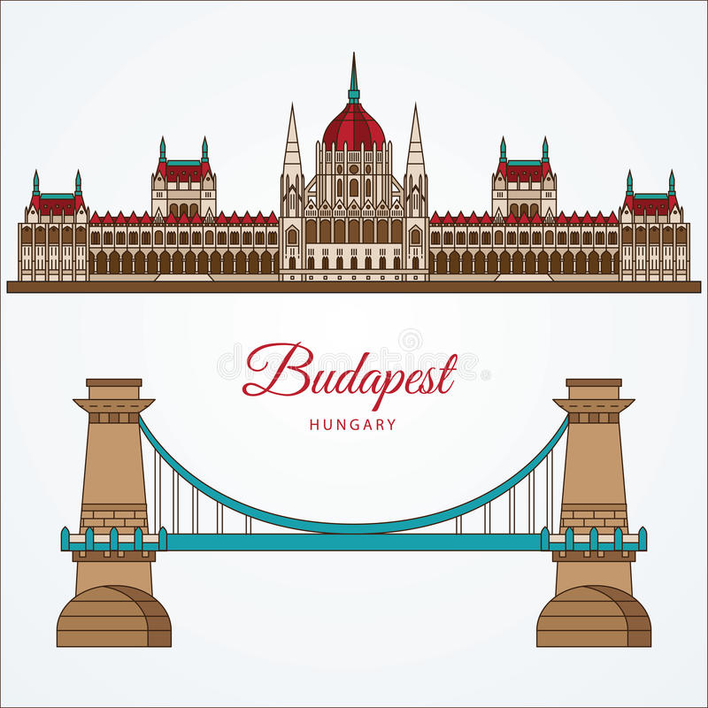 Hungarian Parliament Building and the Chain Bridge. The symbol of Budapest, Hungary. Vector linear Icon for travel agency royalty free illustration