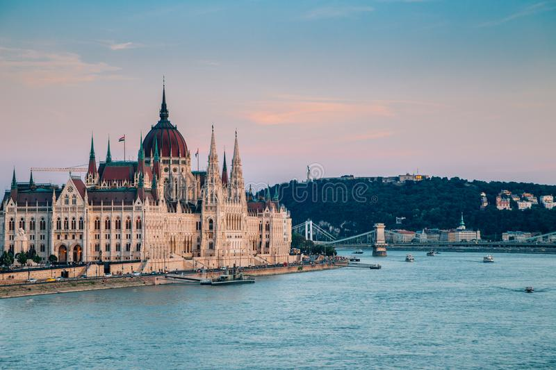 Hungarian Parliament Building and Danube river at sunset in Budapest, Hungary. Hungarian Parliament Building with Danube river at sunset in Budapest, Hungary stock photos