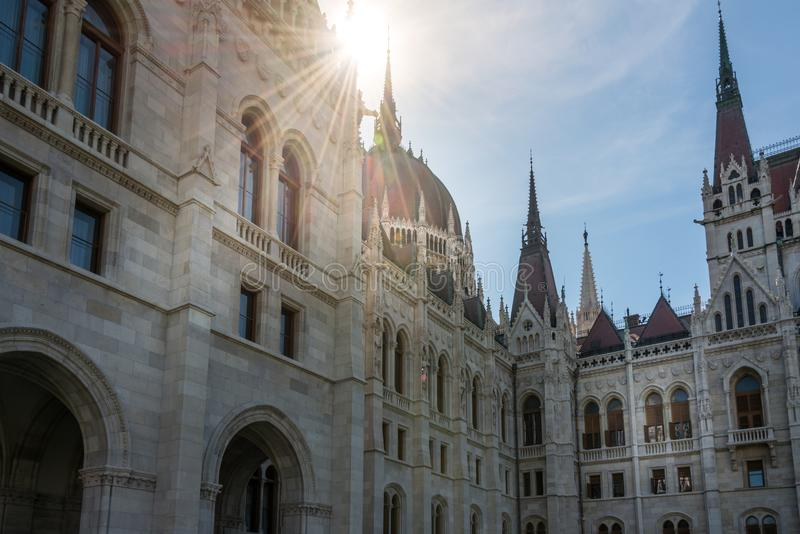 Hungarian Parliament Building in Hungary and Budapest. Three Days in Hungary and Budapest, at Central Europe royalty free stock photography