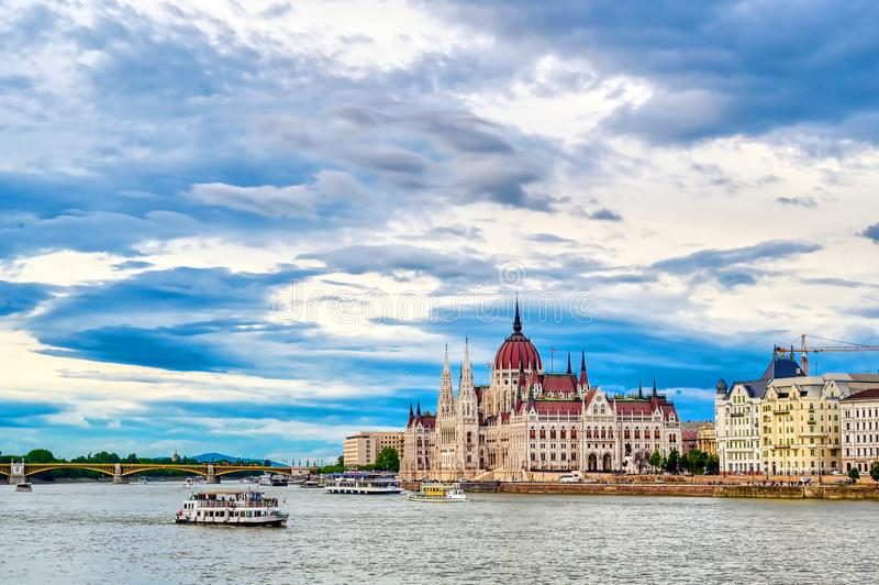 Hungarian Parliament Building located on the Danube River in Budapest, Hungary. The Hungarian Parliament Building located on the Danube River in Budapest Hungary stock images