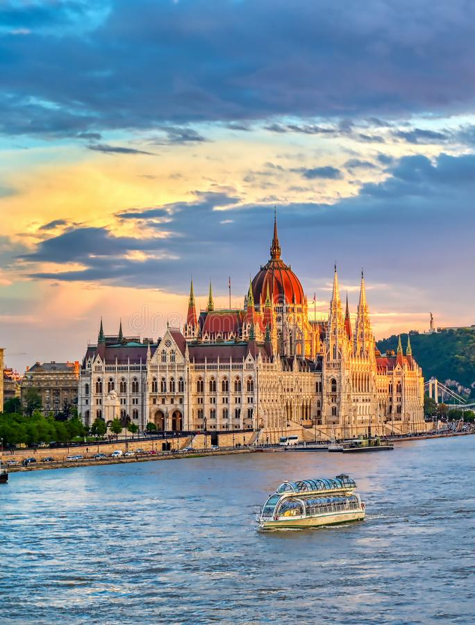 Hungarian Parliament Building located on the Danube River in Budapest Hungary. The Hungarian Parliament Building located on the Danube River in Budapest Hungary stock photo