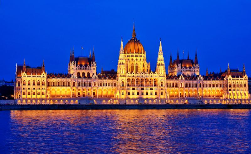 The Hungarian Parliament Building. (Hungarian: Országház, pronounced [ˈorsaːghaːz], which translates to House of the Country or House of the stock image