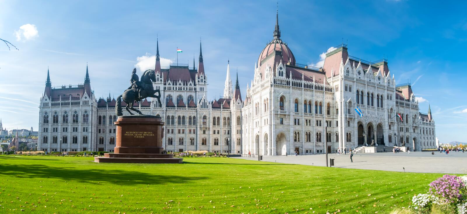 Hungarian Parliament Building panorama. Panoramic view famous landmark of Budapest - Hungarian Parliament Building in neo-Gothic style. Architect Imre Steindl stock photos