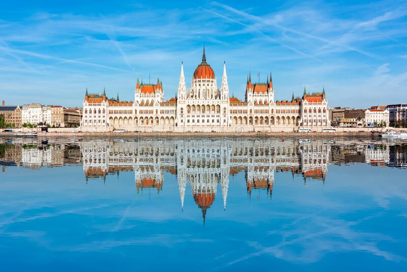 Hungarian Parliament Building reflected in Danube river, Budapest, Hungary royalty free stock photo