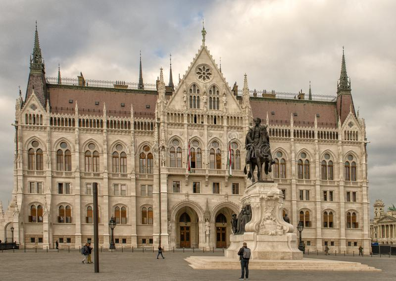 Hungarian Parliament Building from South End of Kossuth Square, Budapest, Hungary royalty free stock photos
