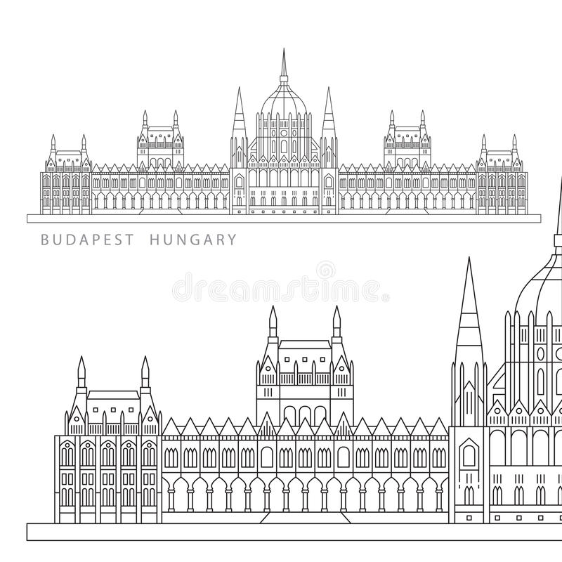 Hungarian Parliament Building. The symbol of Budapest, Hungary. Hungarian Parliament Building also known as House of the Country and House of the Nation. The royalty free illustration