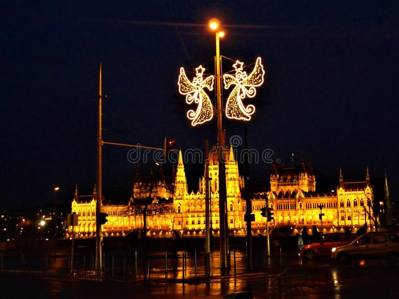 The Hungarian Parliament Building in Budapest city. Christmas, lights and night. The Hungarian Parliament Building, which translates to House of the Country or stock images