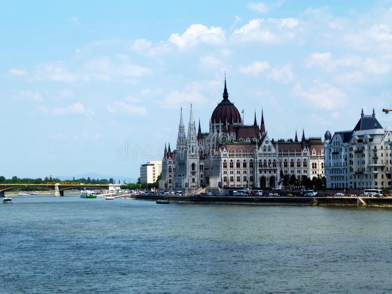 Hungarian parliament and the Danube in Budapest royalty free stock image
