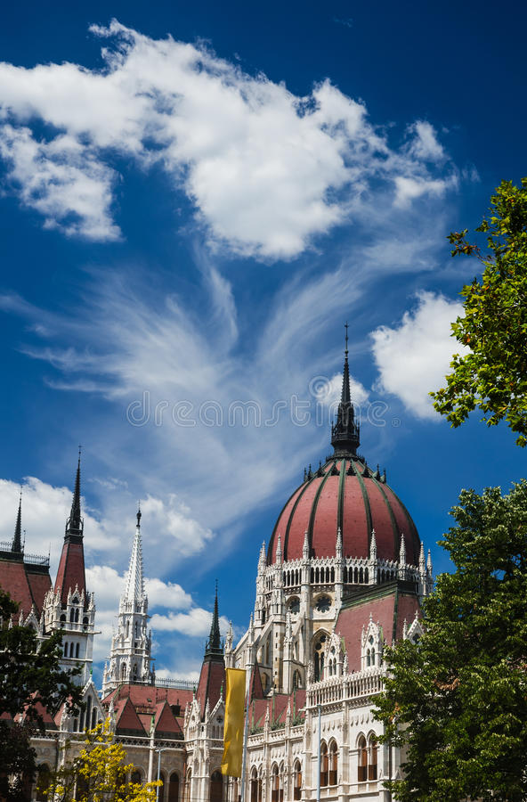 Hungarian Parliament dome, Budapest stock image