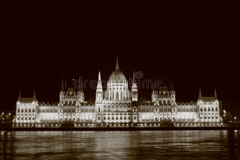 Hungarian Parliament. Historical Hungarian parliament night view sepia royalty free stock image