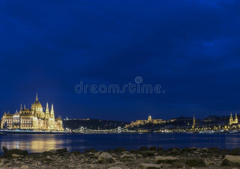 HUNGARIAN PARLIAMENT AT NIGHT royalty free stock photo