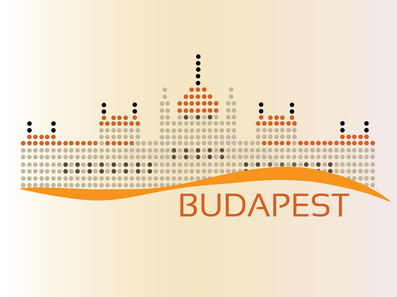 Hungarian Parliament. (The Parlament) building at Budapest, dotted style illustration stock illustration