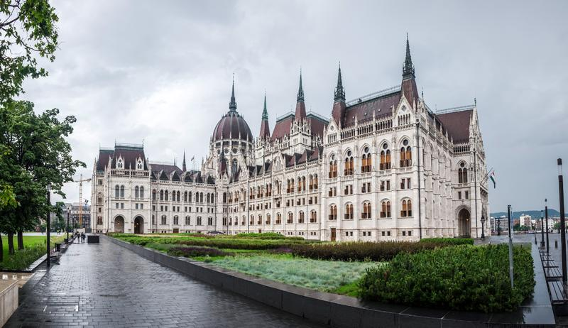 Hungarian parliament, view from city, Budapest stock photos
