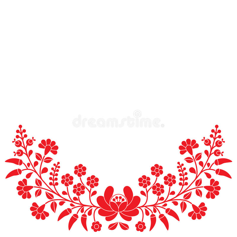 Hungarian red floral folk pattern - Kalocsai embroidery with flowers and paprika stock illustration