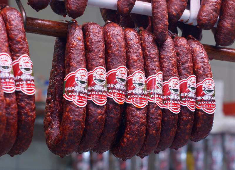 Hungarian salami stock photography