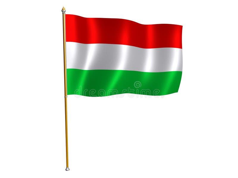 Hungarian silk flag. Silk flag of Hungary stock illustration