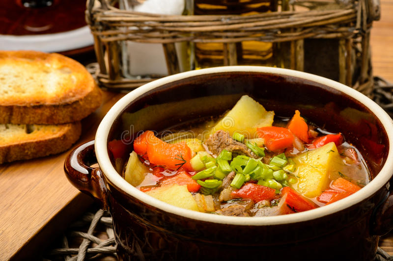 Hungarian soup goulash with meat and vegetables. stock photo