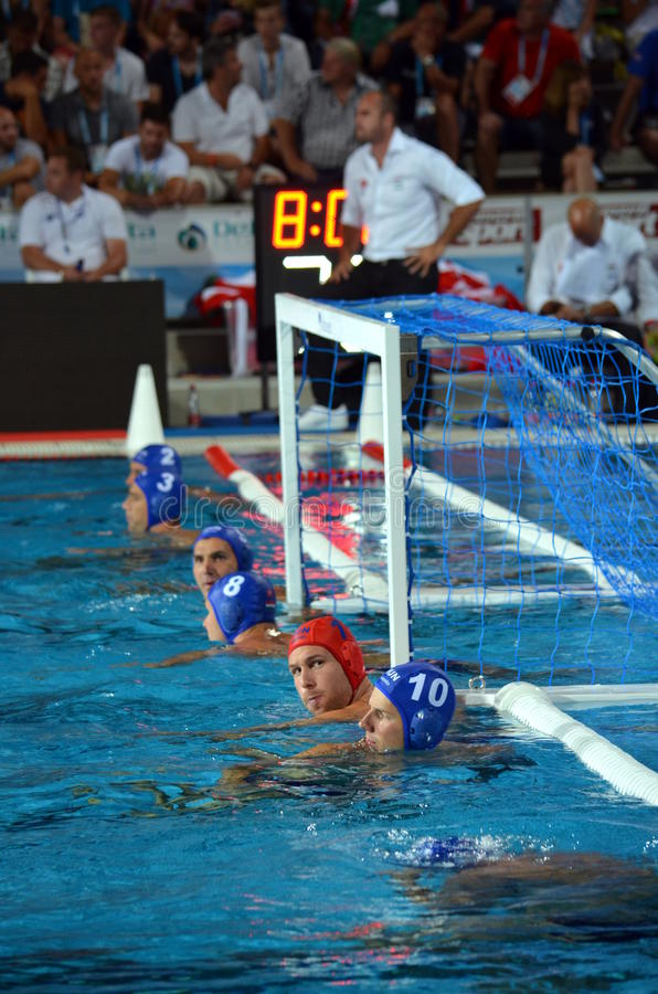 Hungarian team waiting for the start. Budapest, Hungary - Jul 14, 2014. Hungarian team waiting for the start. Viktor Nagy (HUN, 1) goalkeeper in the cage. The stock image