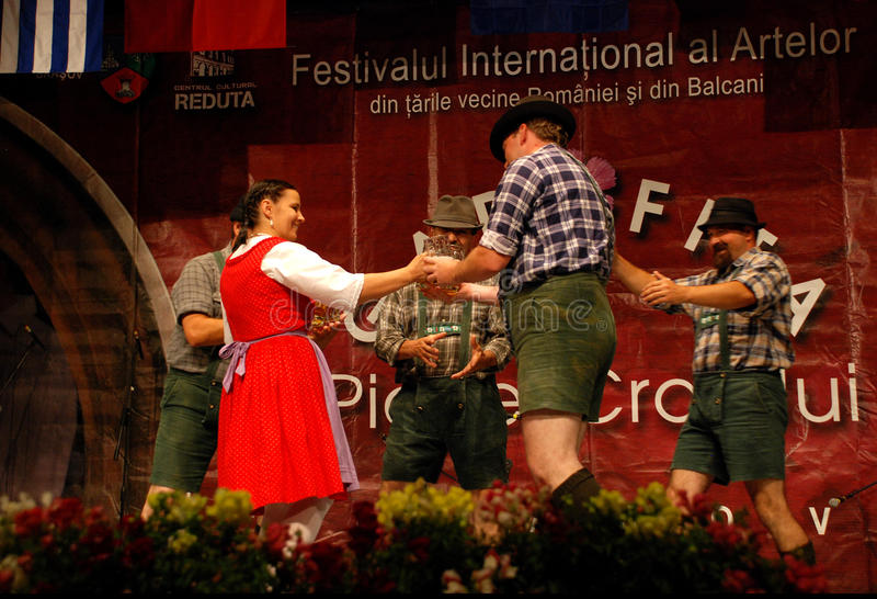 Hungarian traditional folk dance ensemble royalty free stock photos