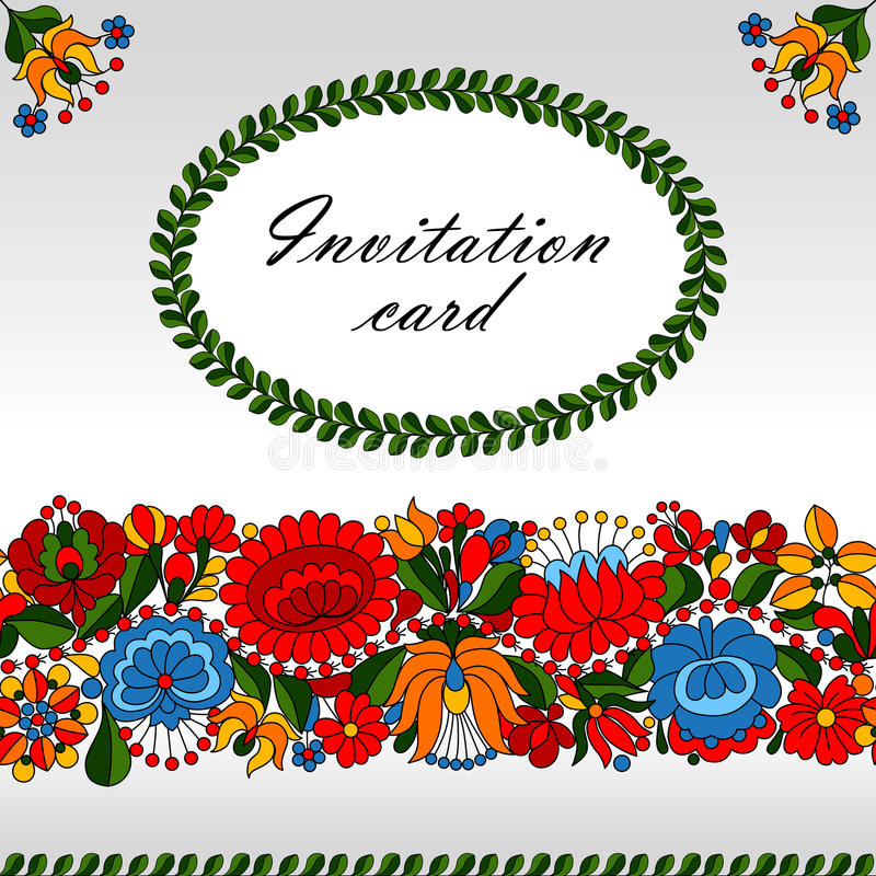 Hungarian traditional folk ornament invitation car royalty free illustration