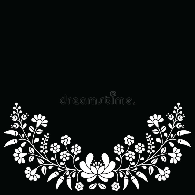 Hungarian white floral folk pattern - Kalocsai embroidery with flowers and paprika stock illustration