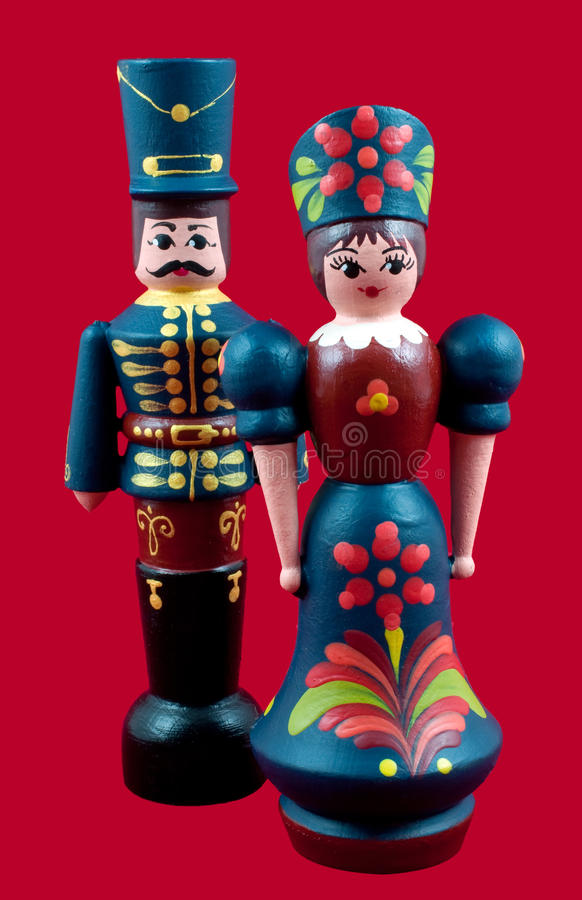Hungarian Wooden Dolls. Traditional Hungarian wooden painted dolls stock photo