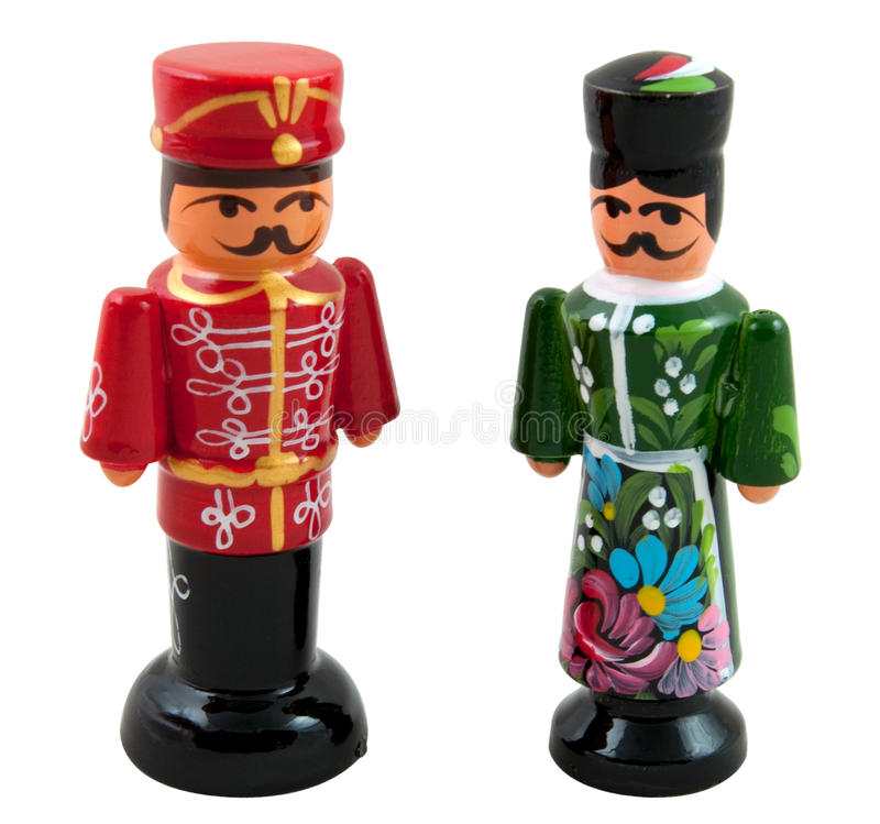 Hungarian Wooden Dolls. Traditional Hungarian wooden glossy painted dolls royalty free stock images