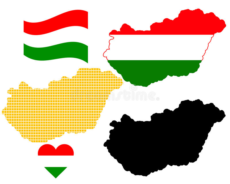 hungary översikt stock illustrationer