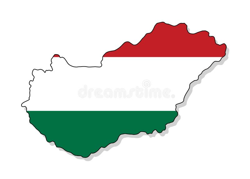 hungary Översikt av Ungernvektorillustrationen stock illustrationer