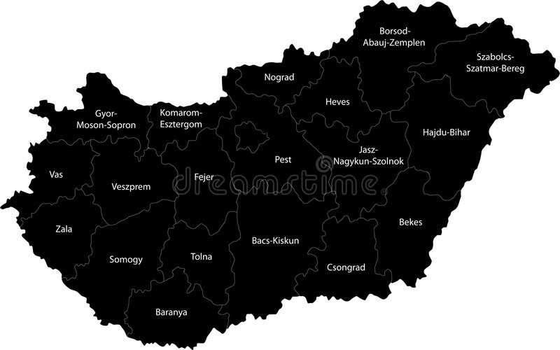 Hungary. Blind map of Hungary with regions borders. Names of the regions, main cities, and neighbouring countries are in an additional format (.AI) in the latent royalty free illustration