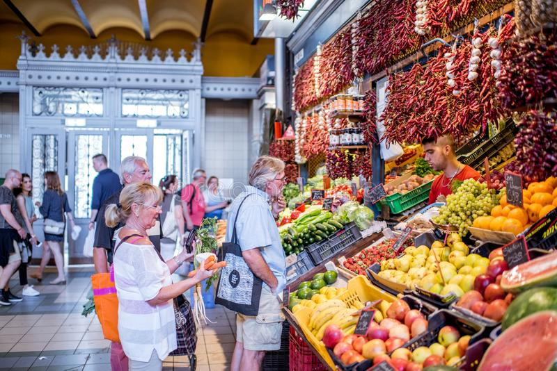 Great Market hall in Budapest stock images