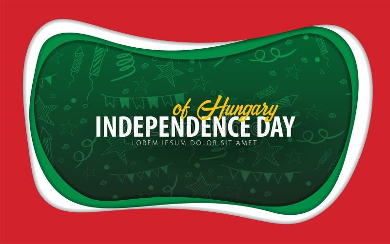 hungary Carte de voeux de Jour de la Déclaration d'Indépendance style de coupe de papier illustration stock