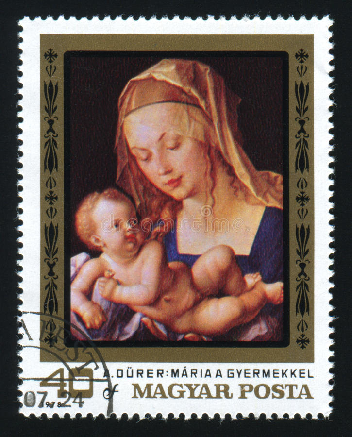 HUNGARY - CIRCA 1978: The postage stamp printed in HUNGARY shows. A picture of artist Albrecht Durer. Virgin and Child. Maria a gyermekkel. Circa 1978 stock photo