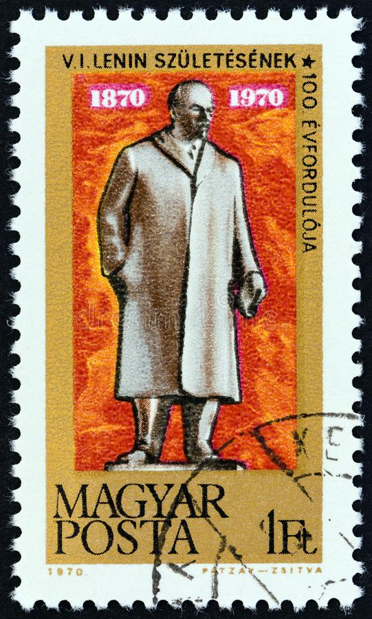 HUNGARY - CIRCA 1970: A stamp printed in Hungary shows Lenin Statue, Budapest, circa 1970. HUNGARY - CIRCA 1970: A stamp printed in Hungary issued for the Birth stock photos
