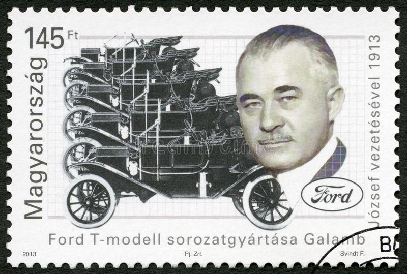 HUNGARY - 2013: shows Jozsef Galamb 1881-1955, Hungarian-American mechanical engineer, Ford Model T century. HUNGARY - CIRCA 2013: A stamp printed in Hungary stock photography