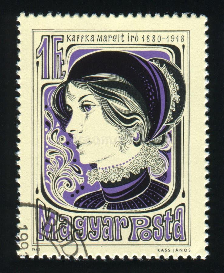 HUNGARY - CIRCA 1980: A stamp printed in Hungary shows portrait Margit Kaffka writer, circa 1980.  royalty free stock photography