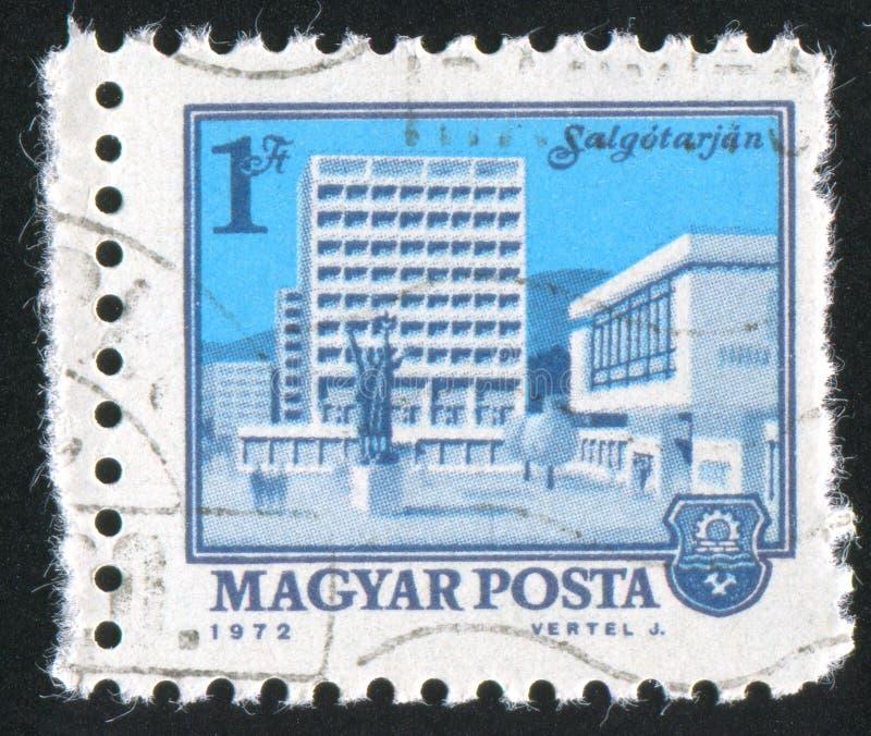 Salgotarjan Building. HUNGARY - CIRCA 1972: stamp printed by Hungary, shows Salgotarjan Building, circa 1972 stock image