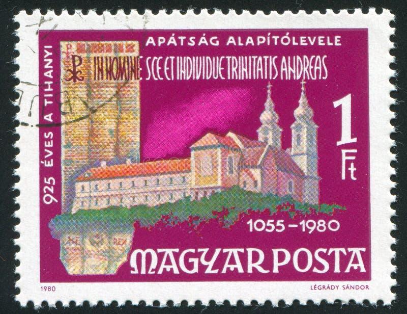 Tihany Benedictine Abbey and Deed. HUNGARY - CIRCA 1980: stamp printed by Hungary, shows Tihany Benedictine Abbey and Deed, circa 1980 stock photo