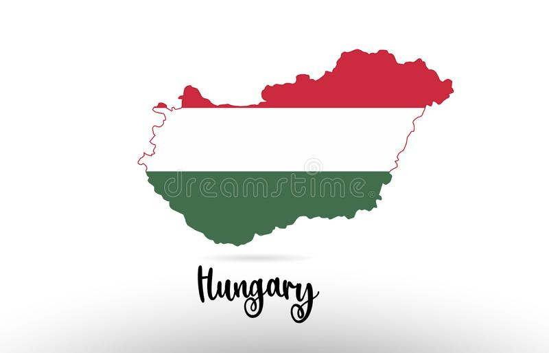 Hungary country flag inside map contour design icon logo. Hungary country flag inside country border map design suitable for a logo icon design stock illustration