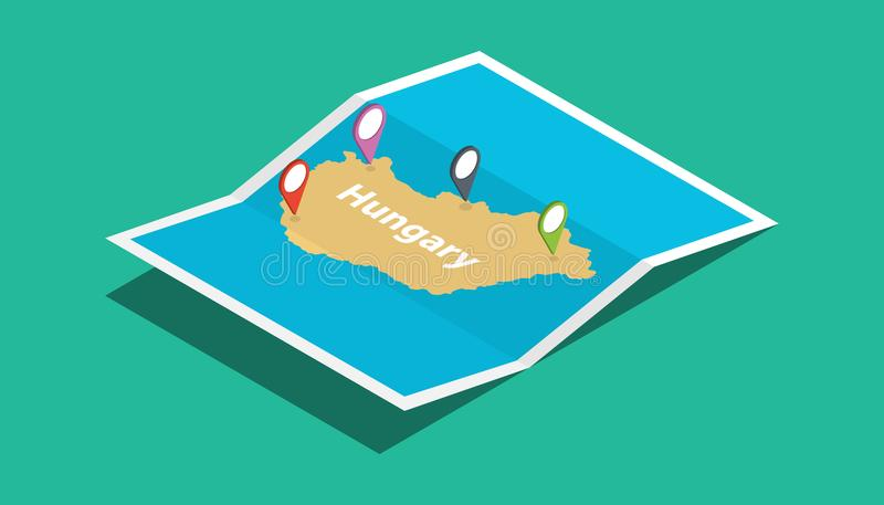 Hungary explore maps with isometric style and pin location tag on top stock illustration