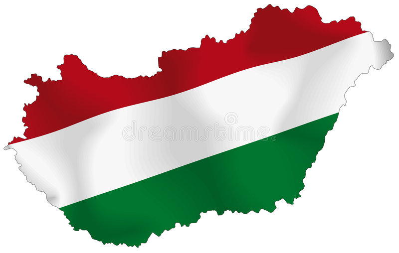 Hungary flag. Vector illustration of a map and flag from Hungary royalty free illustration