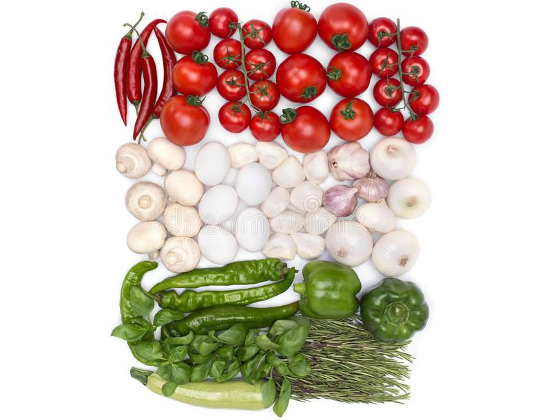 Hungary flag colors from food. And vegetables stock image