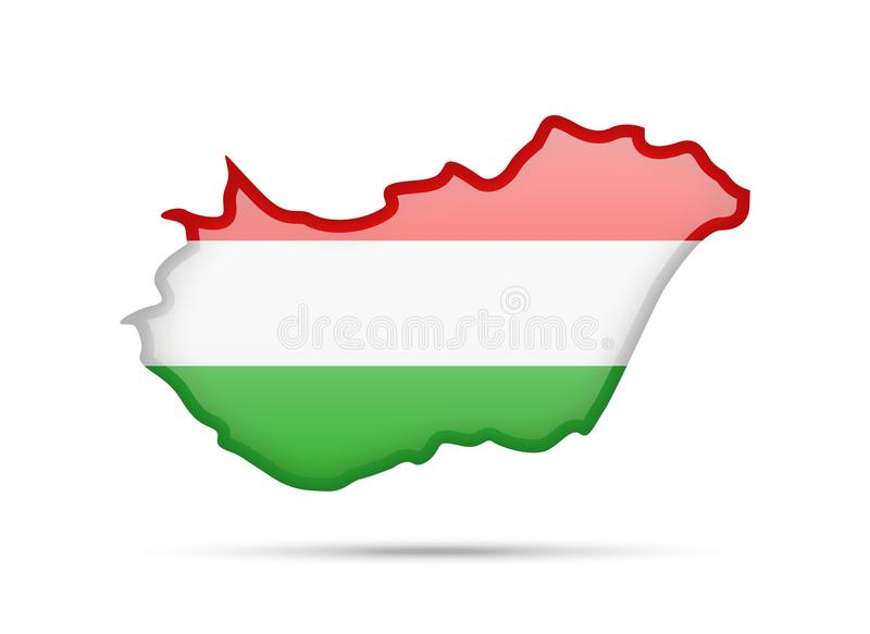 Download hungary flag and contour of the country stock vector illustration of glossy
