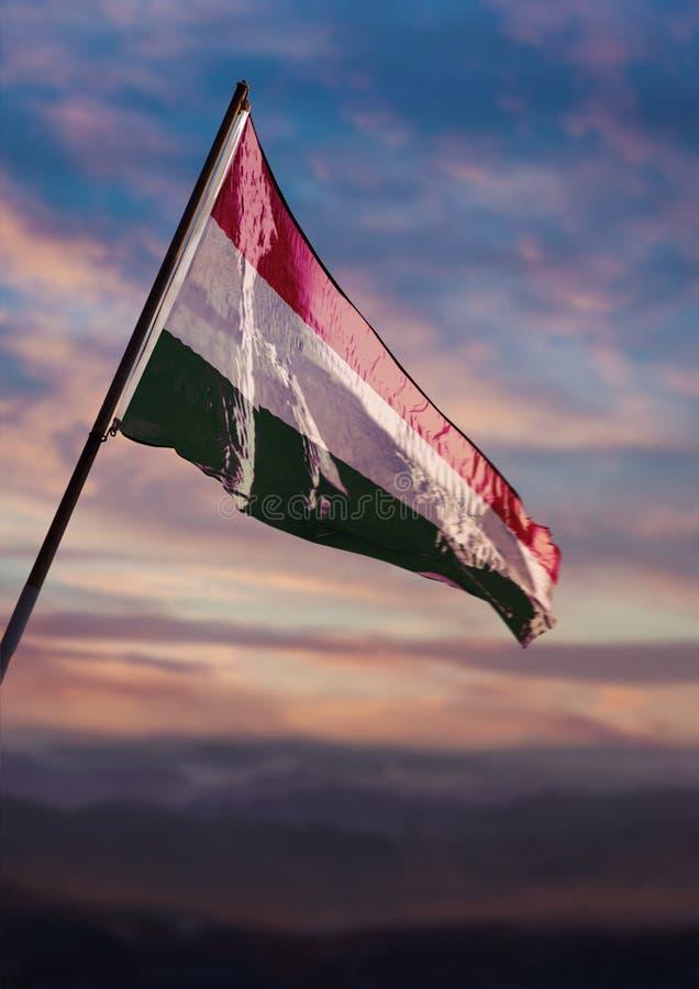 Hungary flag, Hungarian flag waving on sky at dusk stock photography