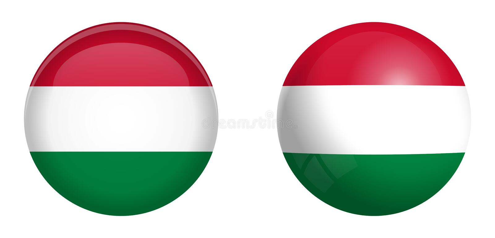Hungary flag under 3d dome button and on glossy sphere / ball vector illustration