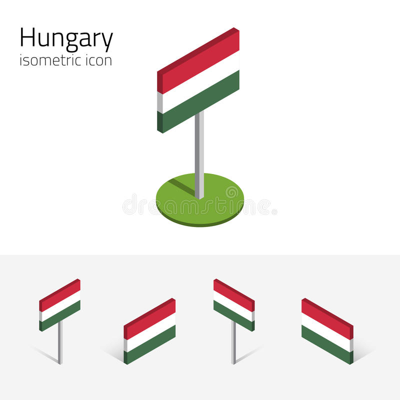 Hungary flag, vector set of 3D isometric icons royalty free illustration